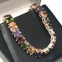 Gorgeous 26 Ct Princess Multi-Color Topaz Tennis Bracelet 14K Rose Gold Plated