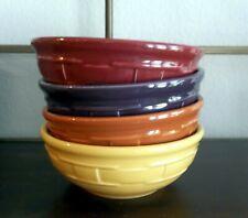 Longaberger Pottery Cereal Bowls - Spice, Butternut, Paprika, Eggplant - Usa