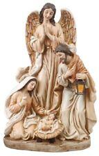 Xmas Nativity Scene Holy Family Angel Christmas Ornament 4 Figures Shabby Chic
