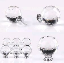 8 x Clear Crystal Glass Furniture Cupboard Door Knobs Drawer