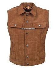 Men's Cowhide tan NICE FITTING western style CLASSIC SUEDE Leather Waistcoat