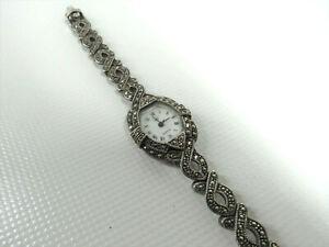Vintage Damen Armbanduhr 925er Silber mit Markasiten