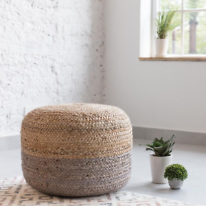 Ottoman Cover Jute Braided Style Pouf Cover Floor Decor Living Modern Foot Stool