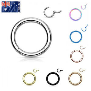 Surgical Steel Hinged Segment Hoop Ring Sleeper Lip Ear Nose Body Piercing 1PC