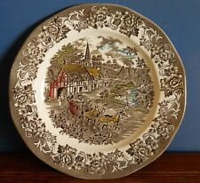 """J & G Meakin 11"""" ironstone Dinner Plate hand coloured Brown """"Stratford Stage"""""""