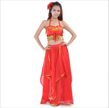 Bra Top with sequins and Long Skirt 2pcs set Belly Dance Costumes Performance