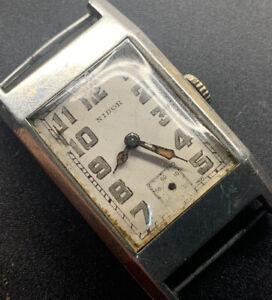 1940s SS Nidor Radium Dial Tank Wristwatch For Repair