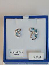 orecchini argento 925% anallergico rodiato bluamante cuore zirconi azzurro