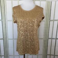 INC Tan Gold Sparkle Sequins Evening Knit Top Size Large Boat Neckline