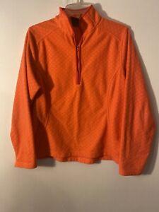LANDS END Womens Fleece 1/4 Zipup Pullover Jacket Size Large 14-16 Orange Coral