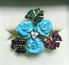 14k Sapphire Emerald Ruby Butterflies Diamond Carved Turquoise Roses Floral Ring