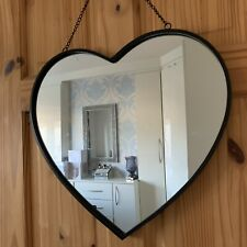 Black Metal Frame Heart Mirror Industrial Style Hanging Heart Wall Mirror 41x43