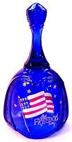 Fenton Glass Stars & Stripes Let Freedom Ring Cobalt Bell  New Mint In Box LE