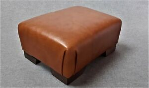 Footstool / Small Stool / Vintage real tan leather/ Brown   (CODE TAN 11)