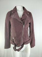 Women's Ugg Australia Genuine Leather Suede Dark Maroon Brown Motorcycle Jacket