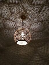 Moroccan Lamp Pendant Light Brass Opened Bottom Antique Vintage, Moroccan Brass