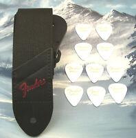 GUITAR STRAP ~ GENUINE FENDER ~ BLACK w/ RED LOGO + 10 MED WHITE 351 PICKS