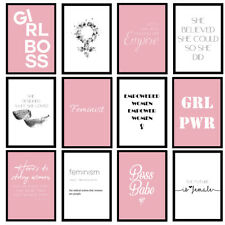 Feminist Female Girls Fashion Pink Home Bedroom Quote Prints Wall Art Posters