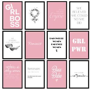 Feminist Female Girls Fashion Pink Bedroom Prints - Unframed Wall Art Posters