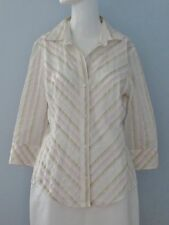 BANANA REPUBLIC Size M Pink Striped Collared Button Down 3/4 Sleeve Blouse