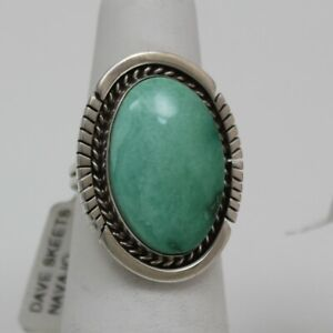 Navajo Indian Ring 50% Off Size 6-1/2 Kingman Turquoise Sterling Dave Skeets