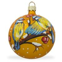 Yellow and Blue Birds on Branch Glass Ball Christmas Ornament 3.25 Inches
