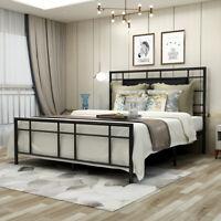 Queen Full Twin Size Metal Bed Frame Platform Foundation Headboard Black /Brown