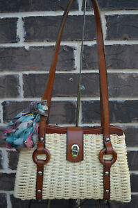 NWT $199 PATRICIA NASH Mercianise Spring Wicker Collection Tan Natural
