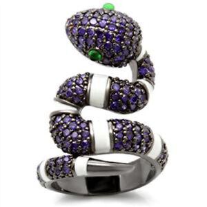 Bague luxe argent ruthénium femme mode serpent serti zircon améthyste émeraude