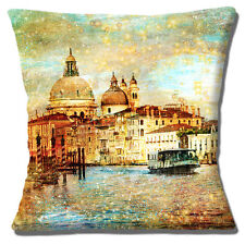 "NEW Vintage Retro Venice Canals Boat Buildings Waterway 16""Pillow Cushion Cover"