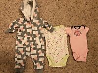 Girls Mixed Clothing Lot Size 0-3 Months Brands Carter's & Gerber Multi-Colored