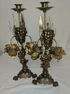 Pair Vtg Antique Toleware Tole Metal Candle Holders Grapes, Sheaf of Wheat