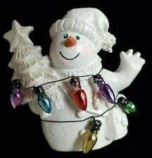 "Vintage Christmas Snowman with lights and tree 1-3/4"" Brooch Pin Jewelry Vc-14"