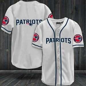 New England Patriots Baseball Shirt Football Button-Down Tee Top Uniforms