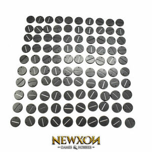 100 * 32mm Round with slot Bases Warhammer 40K Sigmar Base NEW