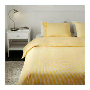 IKEA Quilt cover and Pillowcase White/Yellow -100% cotton