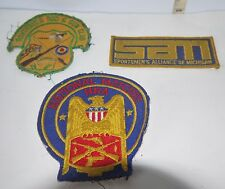 3 Vintage Historical Embroidered Sew On Patches Various Sporting & Gun Clubs