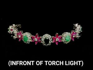 Natural Ruby, Sapphire, Emerald 7.5mm&CZ 925Sterling Silver Bracelet 7.5 Inches