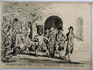 1801 James Gillray( the caricaturist ) print.INTEGRITY RETIRING FROM OFFICE.