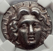 RHODES Island Off Caria Ancient Silver Greek TETRADRACHM Coin Helios Rose NGC AU