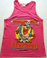 "VTG 1989 July 4th Looney Tunes ""Uncle Taz Want's You"" Muscle Shirt Pink Size (M)"