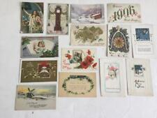 14 Victorian postcards New Years Day 1906 1910 printed some sent