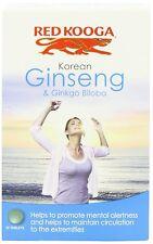 2 X Red Kooga Ginseng Coreano y Ginkgo Biloba 32 tabletas