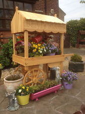 garden patio flower cart barrow solid wood make your blooms stand out