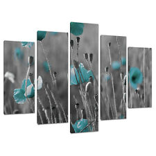 Set of 5 Teal Blue Green Large Canvases Wall Art Prints Pictures 5139