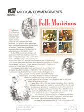 #541 32c Folk Musicians #3212-3215 USPS Commemorative Stamp Panel