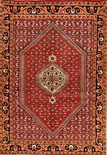 One-of-a-Kind Geometric Oriental Hand-Knotted 4'x5' Red Wool Rug