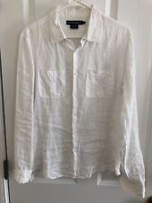 Island Company Classic Linen Button-down Blouse Shirt WHITE ~ Size Large