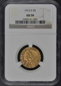 1913-S Indian $5 NGC AU50
