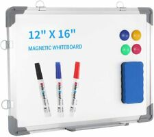 """Small Dry Erase White Board 12"""" x 16"""", Portable Magnetic Hanging Whiteboard for"""